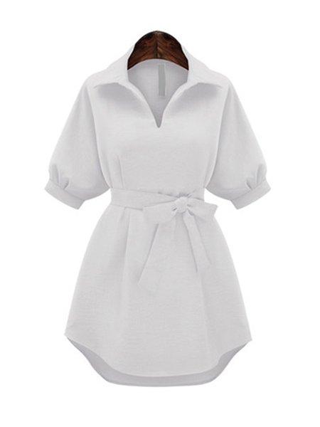 Half Sleeve Polyester Shirt Collar Dress with Belt