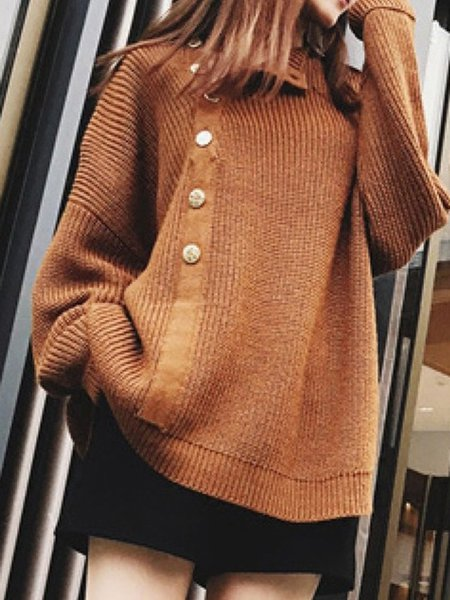 Casual Knitted Buttoned Solid H-line Sweater