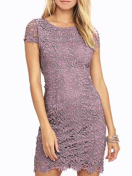 Purple Guipure lace Sexy Bodycon Mini Dress