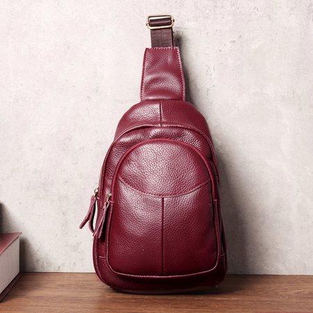Women Men Cowhide leather Crossbody Bag Casual Chest Bag