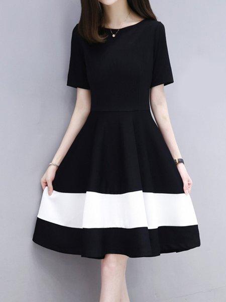 Black Women Casual Dress Swing Date Short Sleeve Color-block Dress
