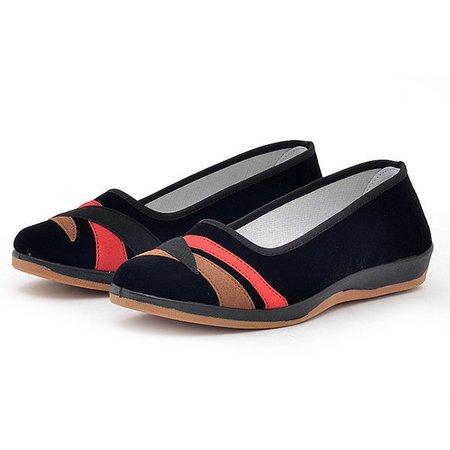 Black Color-Block Slip-On Fabric Women's Flats