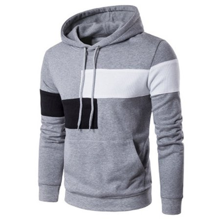 Patchwork Big Front Pocket Casual Cotton Hoodies