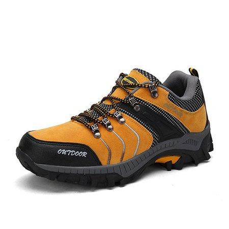 Men's Anti-collision Toe Metal Eyelets Wearable Outdoor Hiking Sneakers