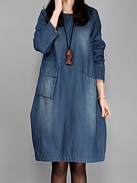 Blue Women Casual Dress Crew Neck Cocoon Casual Plain Dress