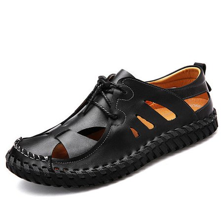 Men Hand Stitching Faux Leather Sandals Soft Hole Breathable Casual Shoes