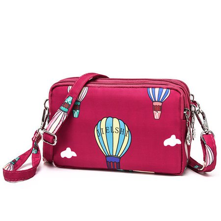 Women Nylon Waterproof Multi-Pocket Chic Printed Crossbody Bags Clutches