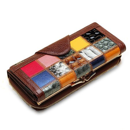 Genuine Leather Retro Trifold Wallet Large Capacity  Phone Bag Stitching Purse