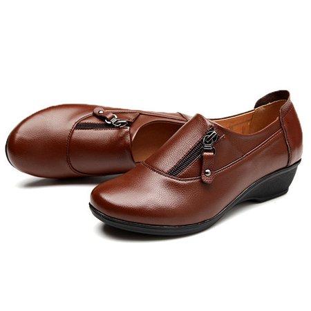 Big Size Leather Zipper Soft Slip On Wedge Heel Loafer