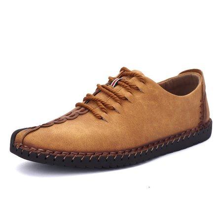 Men British Style Retro Stiching Soft Sole Lace Up Flat Cap-toe Shoes