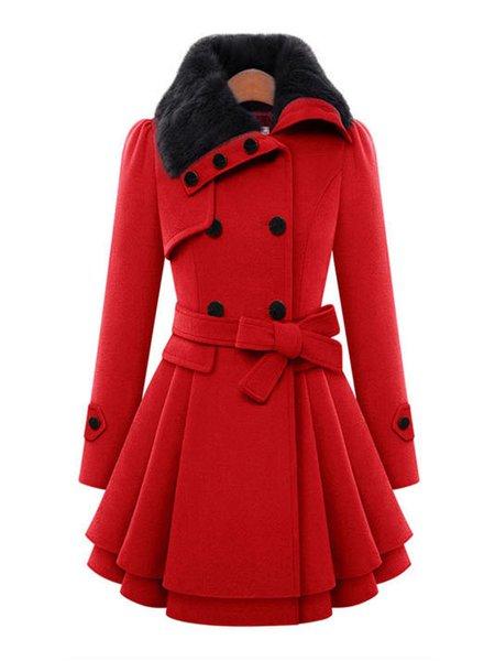 Women's Wool Coat Solid Color Fur Patchwork Warm Fleece Lined Pea ...