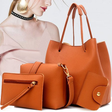 Women 4 PCS PU Leather Purse Tote Bag Crossbody Shoulder Bag