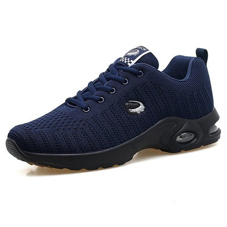 Men Knitted Fabric Shock Absorption Air-cushion Sole Trainers Casual Sneakers