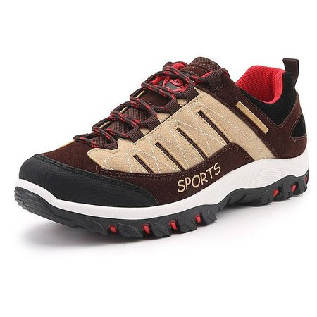 Large Size Men's Wearable Sneakers Lace Up Outdoor Hiking Shoes