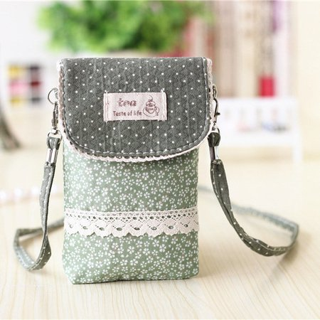 Women Flower Pattern 6 inch  Phone Purse Crossbody Bag