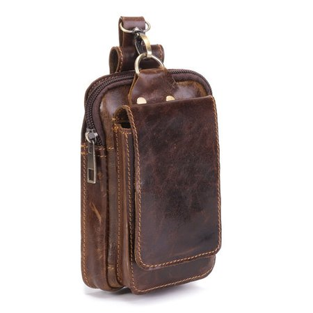 Men Genuine Leather Phone Camera 6 Inches Bag Outdoor Waist Bag