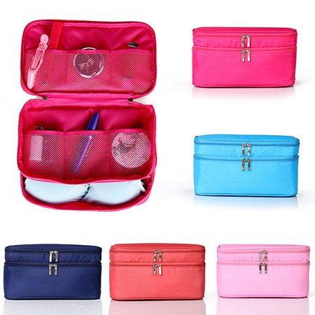 Nylon Waterproof Double-layer Travel Light  Underwears Storage Bag Cosmetic Wash Bag