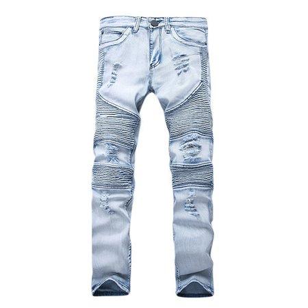 Motorcycle Vintange Light Blue Folds High Elastic Slim Ripped Stone Washed Biker Jeans