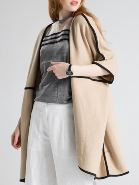 Beige Wool Blend 3/4 Sleeve Paneled Cardigan