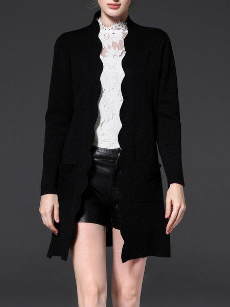 Black H-line Casual Pockets Coat