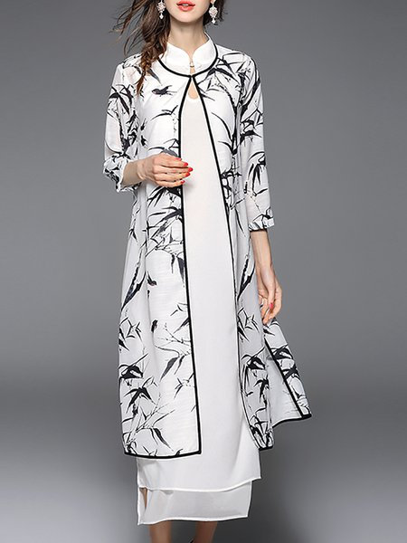 White Leaf 3/4 Sleeve Chiffon Print Dresses