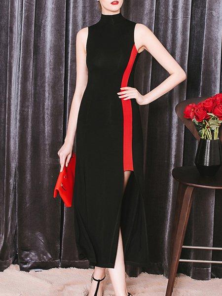 Black Color-block Sleeveless Plain Cotton-blend Cocktail Dress