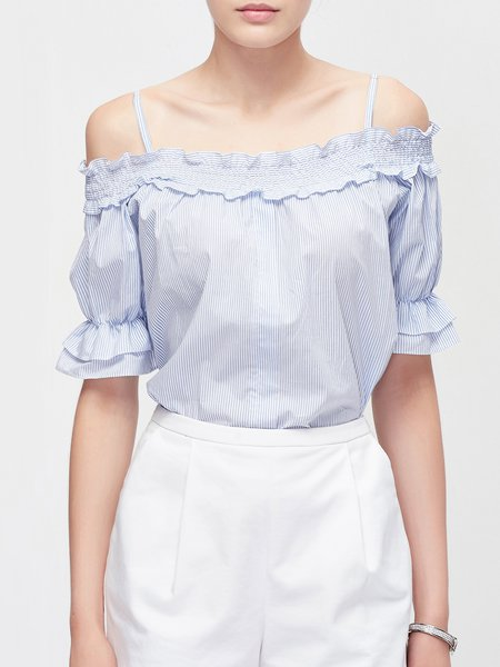 Blue Casual Stripes Ruffled Casual Top