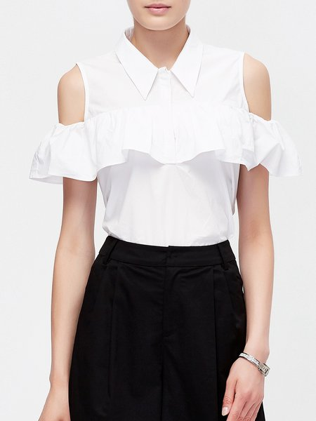 White Ruffled Short Sleeve Cold Shoulder Top