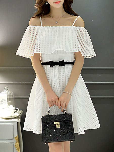 Spaghetti Cold Shoulder Ruffled Girly White Dress
