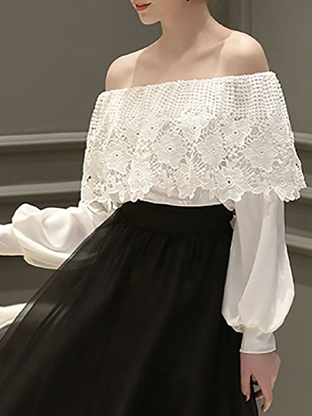 White Pierced Sweet Cold Shoulder (Off Shoulder) Top
