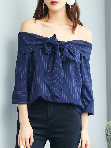 Polyester 3/4 Sleeve Stripes Off Shoulder Simple Cold Shoulder (Off Shoulder) Top