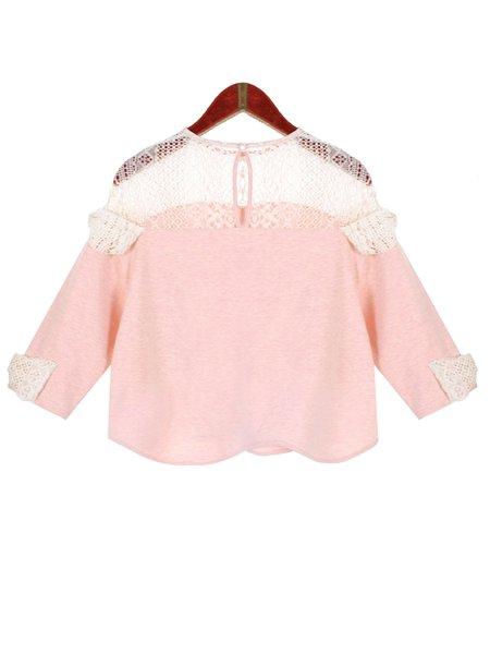 Pink Sweet Crew Neck Cotton-blend Crop Top