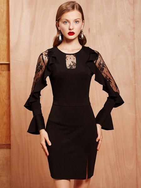 Elegant Bodycon Mesh Paneled Frill Sleeve Mini Dress