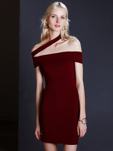 Red Off Shoulder  Asymmetric Solid Dress