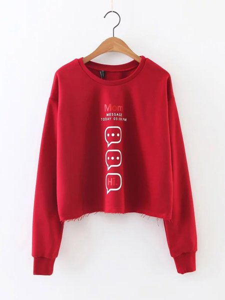 Red Casual Long Sleeve Printed Distressed Cotton-blend Crew Neck Sweatshirt