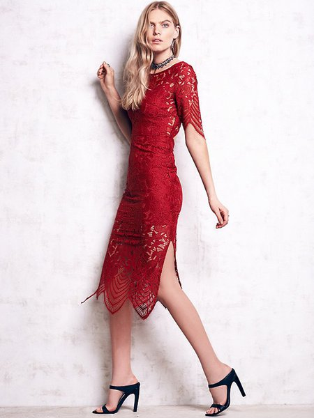 Cutout Back Slit Side Sheath Half Sleeve Lace Dress