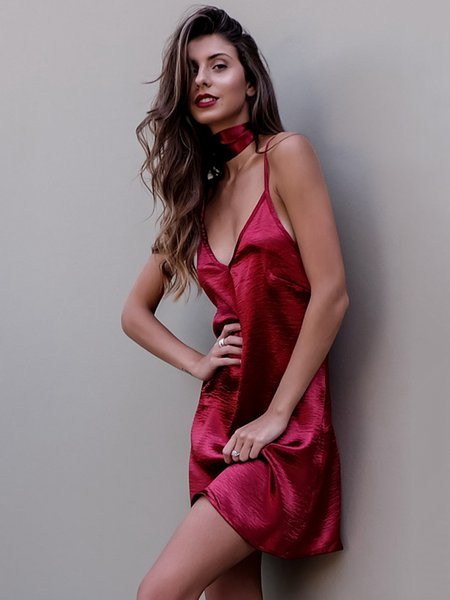 Slouchy Criss Cross Open Back Satin Spaghetti Dress