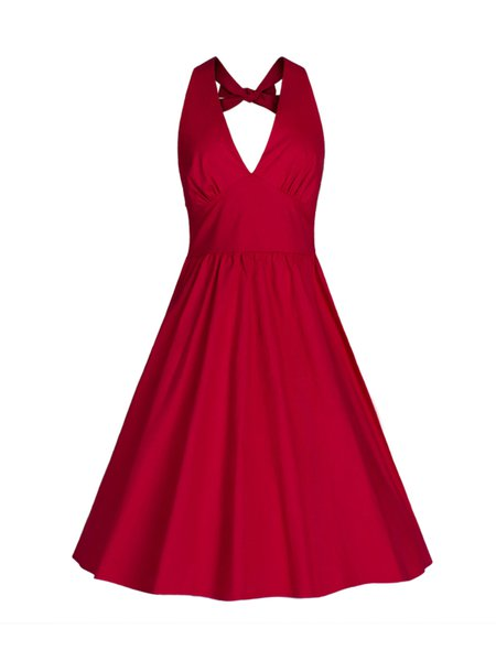 Red Tie Back Gathered A-line Solid Simple Dress