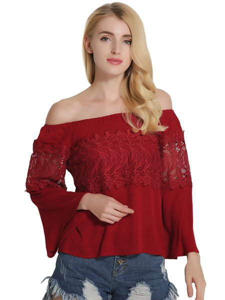 Red Embroidered Off Shoulder Top