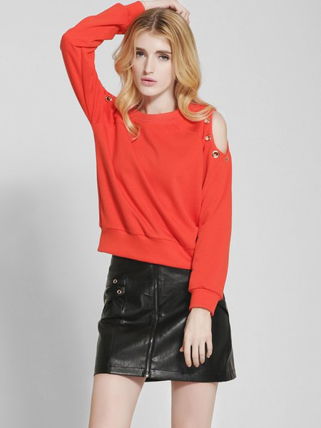 Cold Shoulder Long Sleeve Solid Sweatshirt