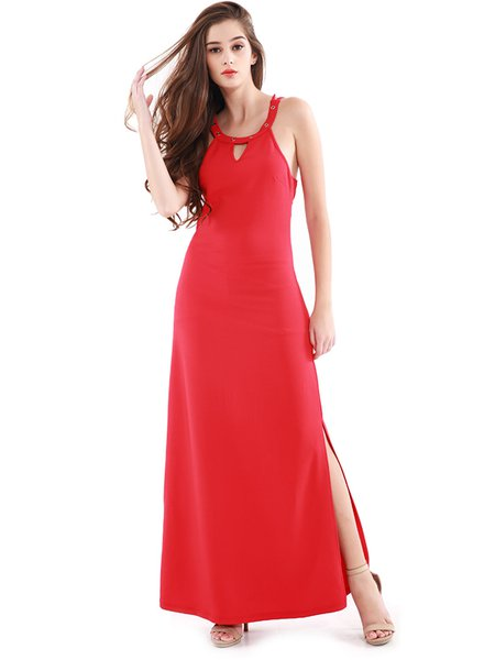 Red Slit Backless Cross Strap Solid Dress