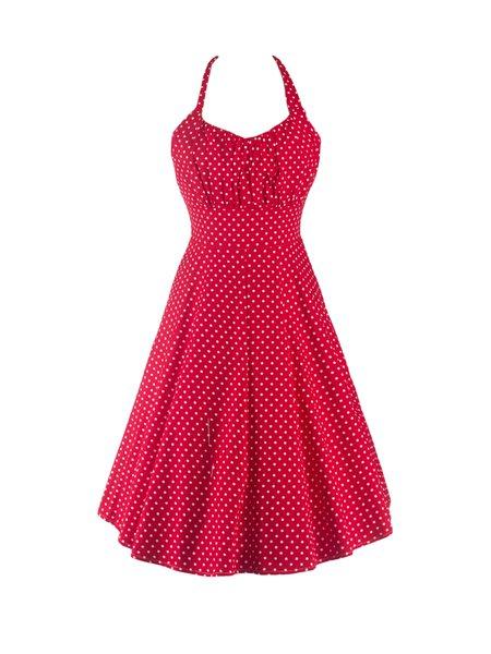 Red Vintage A-line Gathered Polka Dot Dress