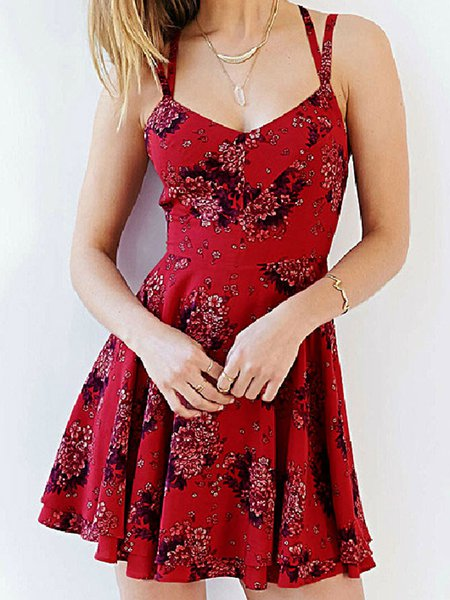 Red A-line Spaghetti Floral Print Chiffon Beach Dress