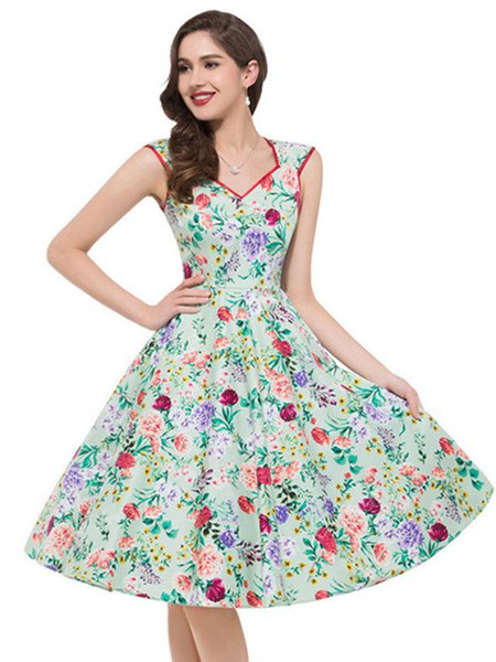 Vintage Sleeveless Floral Print A-line Dress