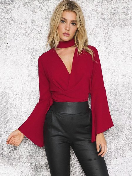 Bow Bell Sleeve Choker Neck Going Out Top