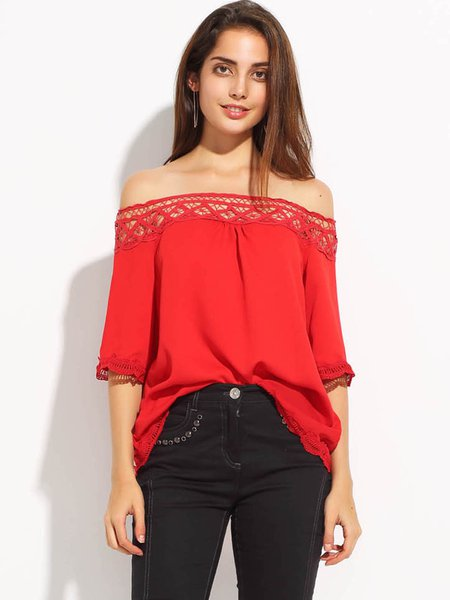 Red Pierced 3/4 Sleeve Off Shoulder Top