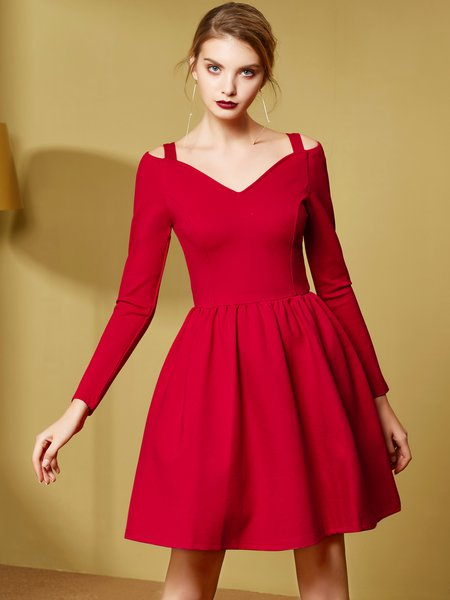 Solid V Neck Folds Long Sleeve Elegant Dress