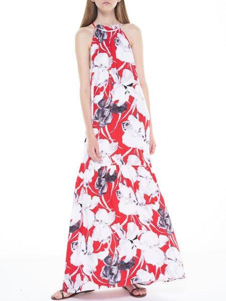 Red Floral Boho Boho Dress