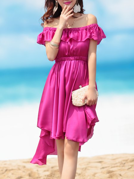 Purple Polyester Girly Ruffled Solid Beach Dress