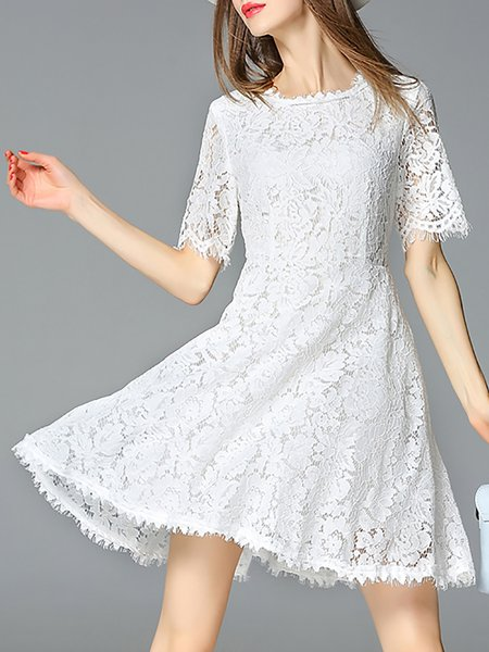 White Crocheted Crew Neck Plain Girly White Dress